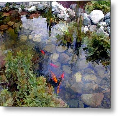 Garden Koi Pond Metal Print by Elaine Plesser