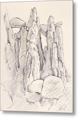 Garden Of The Gods Pulpit Rock Ink On Toned Paper  Metal Print by Adam Long