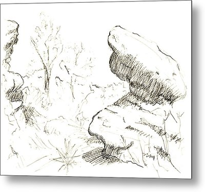 Garden Of The Gods Rocks Along The Trail Ink Drawing By Adam Lon Metal Print by Adam Long