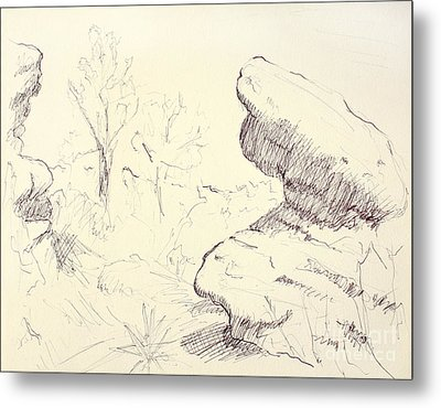 Garden Of The Gods Rocks Along The Trail Ink Drawing On Toned Pa Metal Print by Adam Long