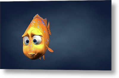 Garibaldi Fish In 3d Cartoon Metal Print by BaloOm Studios