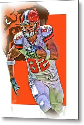 Gary Barnidge Cleveland Browns Oil Art Metal Print by Joe Hamilton