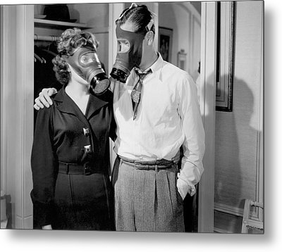 Gas Mask Lovers Metal Print by Underwood Archives