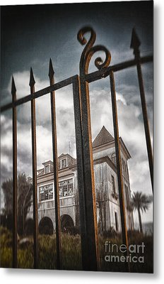 Gate To Haunted House Metal Print by Carlos Caetano