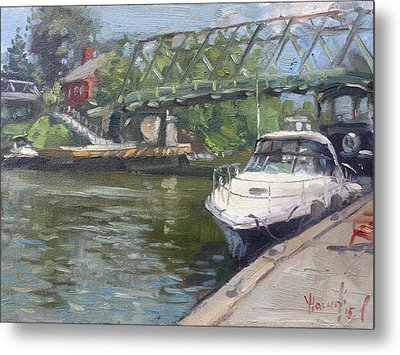 Gateway Harbor Park Metal Print by Ylli Haruni