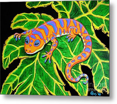 Gecko Hanging On Metal Print by Nick Gustafson
