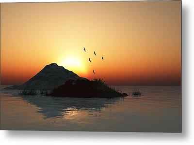 Geese And Sunset Metal Print by David Lane