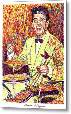 Gene Krupa The Drummer Metal Print by David Lloyd Glover