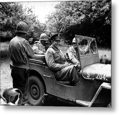 General Eisenhower In A Jeep Metal Print by War Is Hell Store