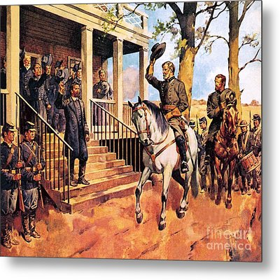 General Lee And His Horse 'traveller' Surrenders To General Grant By Mcconnell Metal Print by James Edwin