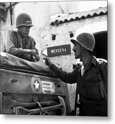 General Patton In Sicily Metal Print by War Is Hell Store