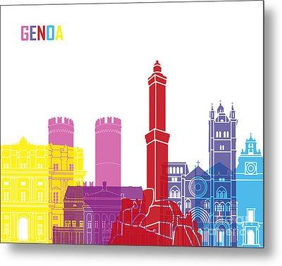 Genoa Skyline Pop Metal Print by Pablo Romero
