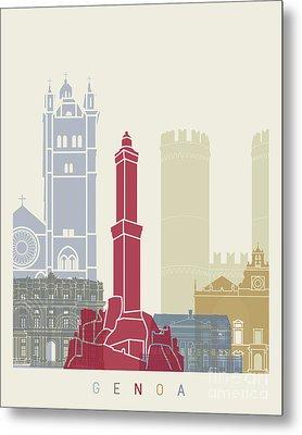 Genoa Skyline Poster Metal Print by Pablo Romero