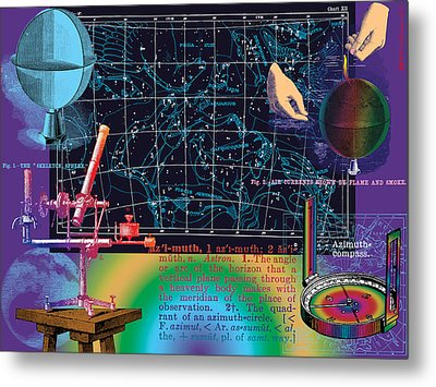 Geography And Voyaging Homage To Joseph Cornell Metal Print by Eric Edelman