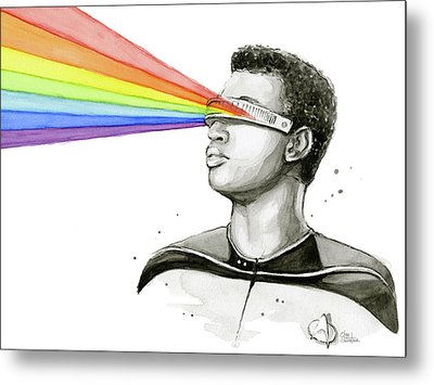 Geordi Sees The Rainbow Metal Print by Olga Shvartsur
