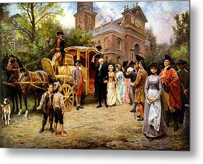 George Washington Arriving At Christ Church Metal Print by War Is Hell Store