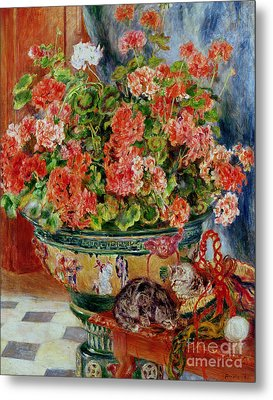 Geraniums And Cats Metal Print by Pierre Auguste Renoir