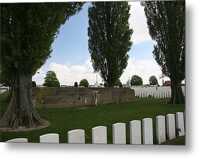 Metal Print featuring the photograph German Bunker At Tyne Cot Cemetery by Travel Pics