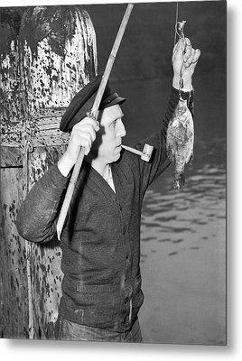 German Crewman Fishes In Sf Metal Print by Underwood Archives