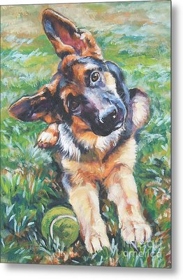German Shepherd Pup With Ball Metal Print by Lee Ann Shepard