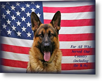 German Shepherd - U.s.a. - Text Metal Print by Sandy Keeton