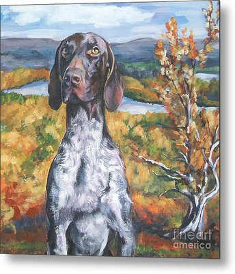 German Shorthaired Pointer Autumn Metal Print by Lee Ann Shepard
