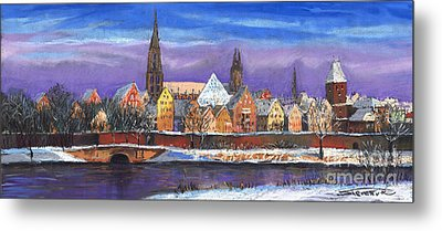 Germany Ulm Panorama Winter Metal Print by Yuriy  Shevchuk
