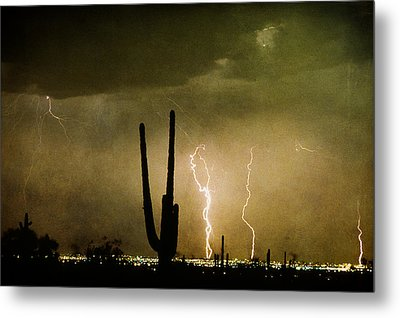 Giant Saguaro Southwest Lightning  Peace Out  Metal Print by James BO  Insogna