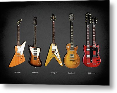 Gibson Electric Guitar Collection Metal Print by Mark Rogan
