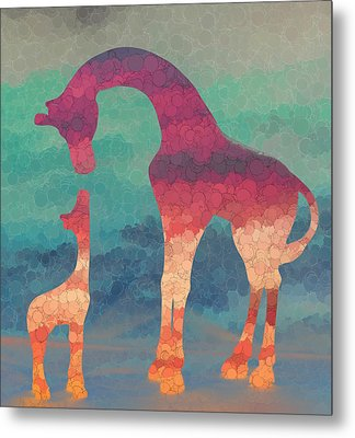 Giraffe Love Mother And Child Metal Print by Terry DeLuco