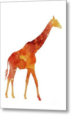 Giraffe Minimalist Painting For Sale Metal Print by Joanna Szmerdt