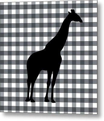Giraffe Silhouette Metal Print by Linda Woods