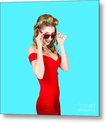 Girl Adjusting Glasses To Flashback A 1950s Look Metal Print by Jorgo Photography - Wall Art Gallery