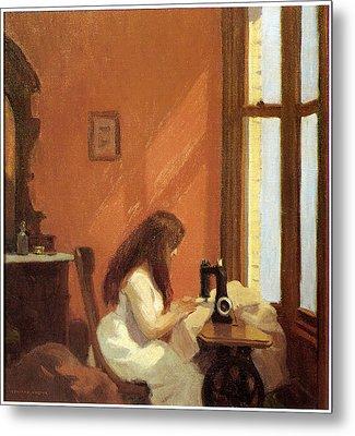 Girl At Sewing Machine Metal Print by Edward Hopper