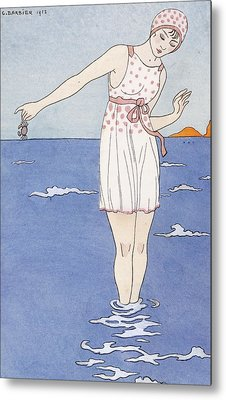 Girl At The Beach Metal Print by Georges Barbier