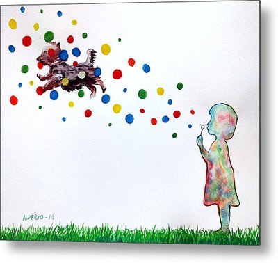Girl Blowing Soap Bubbles And A Dog Metal Print by Edwin Alverio
