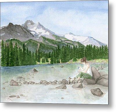 Girl By Lake Metal Print by Caroline Moses