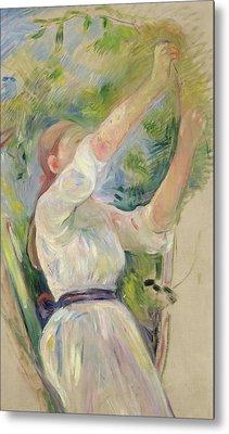 Girl Gathering Cherries Metal Print by Berthe Morisot