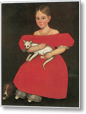 Girl In Red With Her Cat And Dog Metal Print by Ammi Phillips