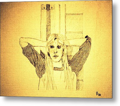 Girl In School Lunch Room Metal Print by Sheri Parris