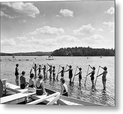 Girl Scout Canoe Lessons Metal Print by Underwood Archives