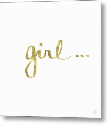 Girl Talk Gold- Art By Linda Woods Metal Print by Linda Woods