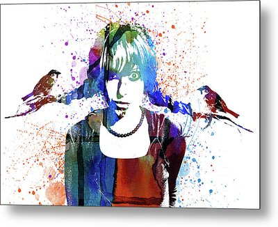 Girl With Birds Watercolor Metal Print by Mihaela Pater