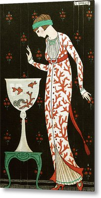Girl With Fish Bowl Metal Print by Georges Barbier