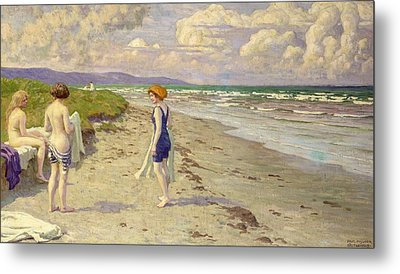 Girls Preparing To Bathe On The Beach Metal Print by Paul Fischer