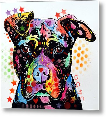 Give Love Pitbull Metal Print by Dean Russo