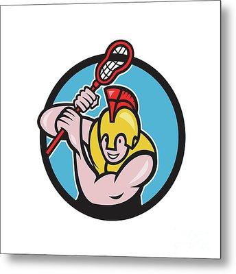 Gladiator Lacrosse Player Stick Circle Cartoon Metal Print by Aloysius Patrimonio