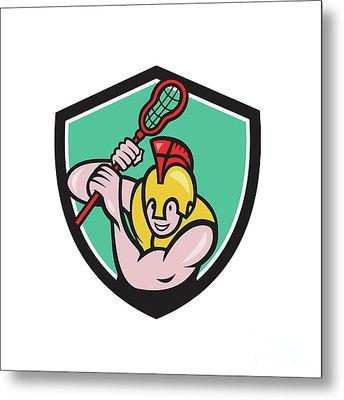 Gladiator Lacrosse Player Stick Crest Cartoon Metal Print by Aloysius Patrimonio
