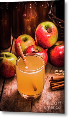 Glass Of Fresh Apple Cider Metal Print by Jorgo Photography - Wall Art Gallery