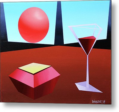 Glass Of Wine On Planet X Metal Print by Mark Webster